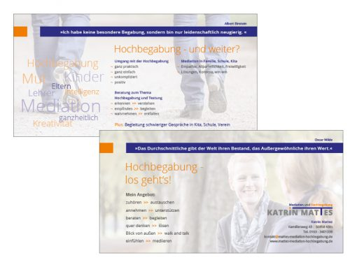 Katrin Mattes Mediation // Logo, Visitenkarte, Briefbogen, Block, Flyer, Aufkleber, Website