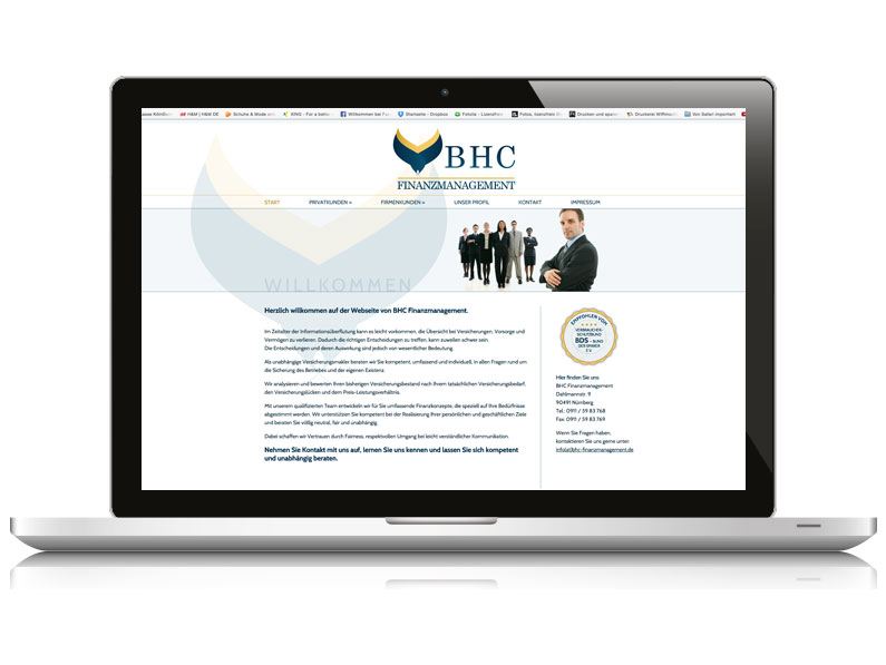 BHC Finanzmanagement // Visitenkarte, Website